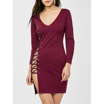 Lace Up V Neck Long Sleeve Bandage Dress