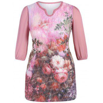 Plus Size Floral Print Beaded Dress
