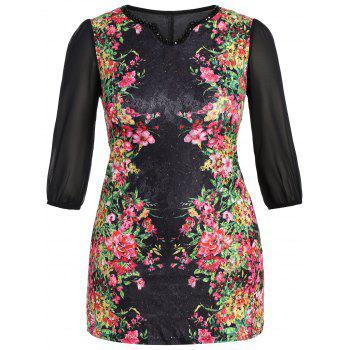 Plus Size Ornate Floral Print Beaded Dress