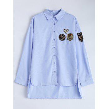 Striped Military Patches Shirt