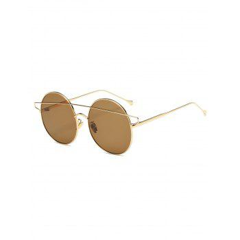 Alloy Crossover Mirrored Round Sunglasses