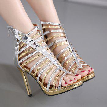 Zipper Strappy Patent Leather Sandals