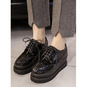 Wingtip Round Toe Wedge Shoes - 38 38