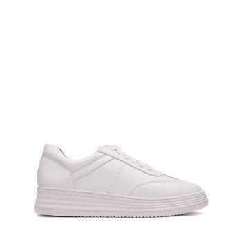 Faux Leather Round Toe Athletic Shoes