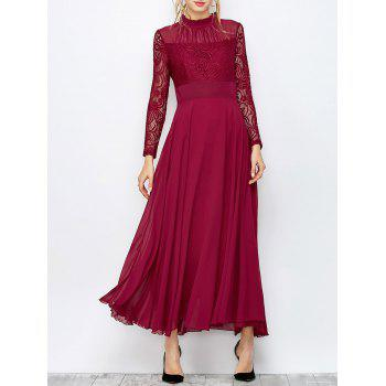 Frill Collar Lace Bodice Maxi Dress
