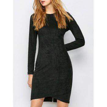 Faux Suede Long Sleeve Bodycon Dress