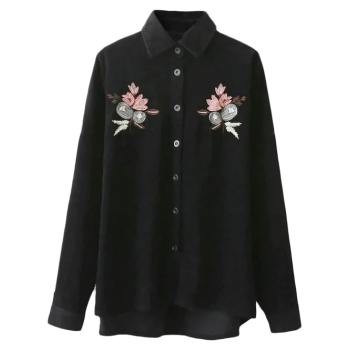 Corduroy Embroidered Shirt - BLACK ONE SIZE
