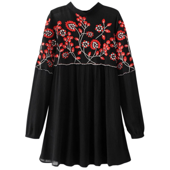 Long Sleeve Embroidered Floral Mini Dress - BLACK L