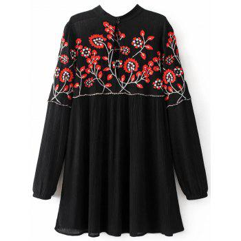 Long Sleeve Embroidered Floral Mini Dress - L L