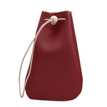 Drawstring Bucket Wallet - RED RED