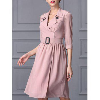 Belted Epaulet Wrap Dress