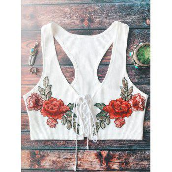 Lace Up Floral Embroidered Knitted Cropped Top