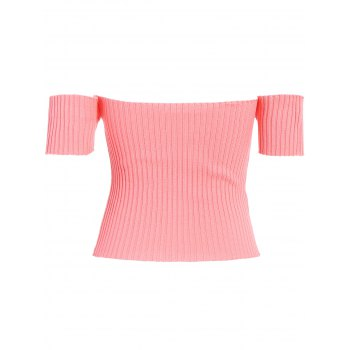Off The Shoulder Ribbed Crop Top - ORANGEPINK ONE SIZE
