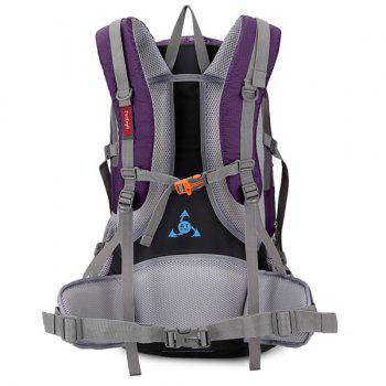 45L Multi Zips Nylon Mountaineering Backpack - PURPLE