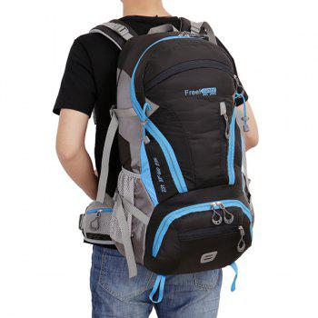 45L Multi Zips Nylon Mountaineering Backpack - BLACK