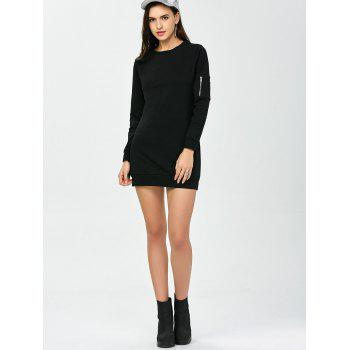 Crew Neck Zippered Long Sleeve Day Dress - BLACK S