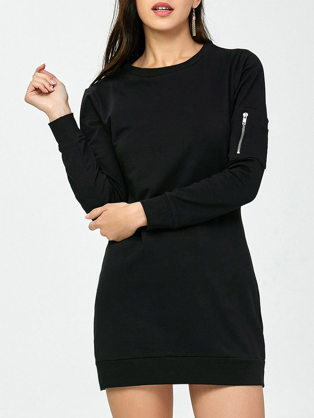 Crew Neck Zippered Long Sleeve Day Dress - BLACK M