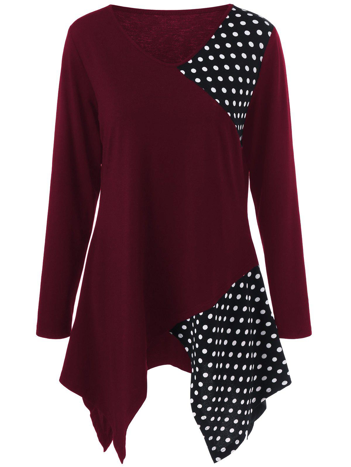 Plus Size Polka Dot Trim Asymmetrical Long Sleeve T-Shirt - DEEP RED 2XL