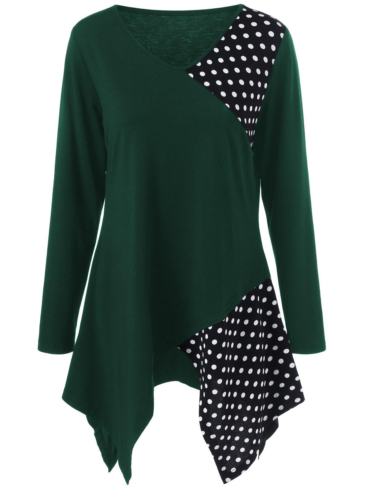 Plus Size Polka Dot Trim Asymmetrical Long Sleeve T-Shirt - BLACKISH GREEN 3XL