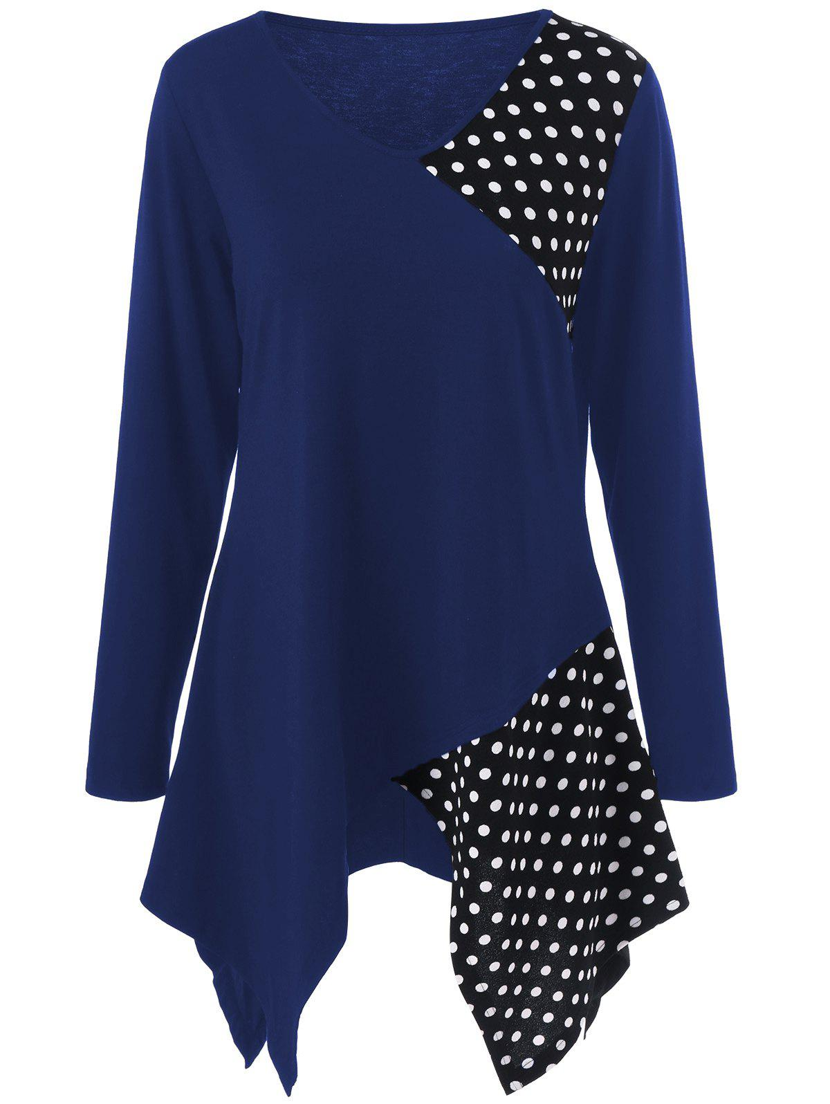 Plus Size Polka Dot Trim Asymmetrical Long Sleeve T-Shirt - BLUE XL