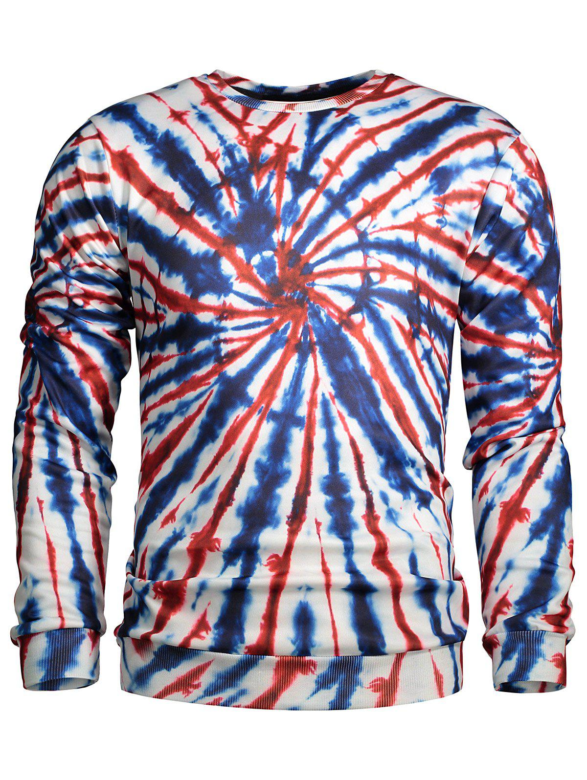 Crew Neck Color Block Spiral Print SweatshirtMen<br><br><br>Size: XL<br>Color: COLORMIX