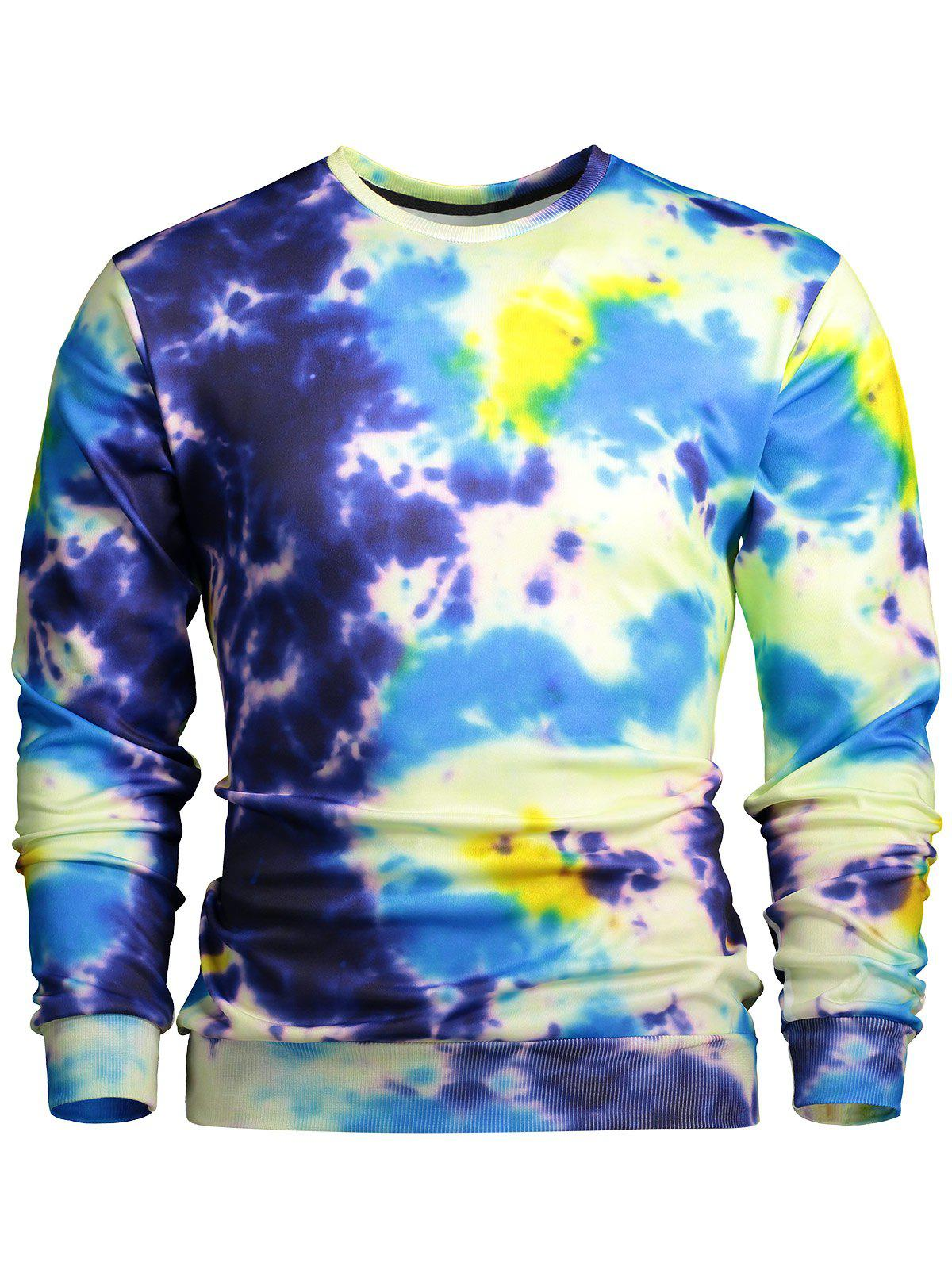 Buy Crew Neck Color Block Splatter Paint Sweatshirt COLORMIX