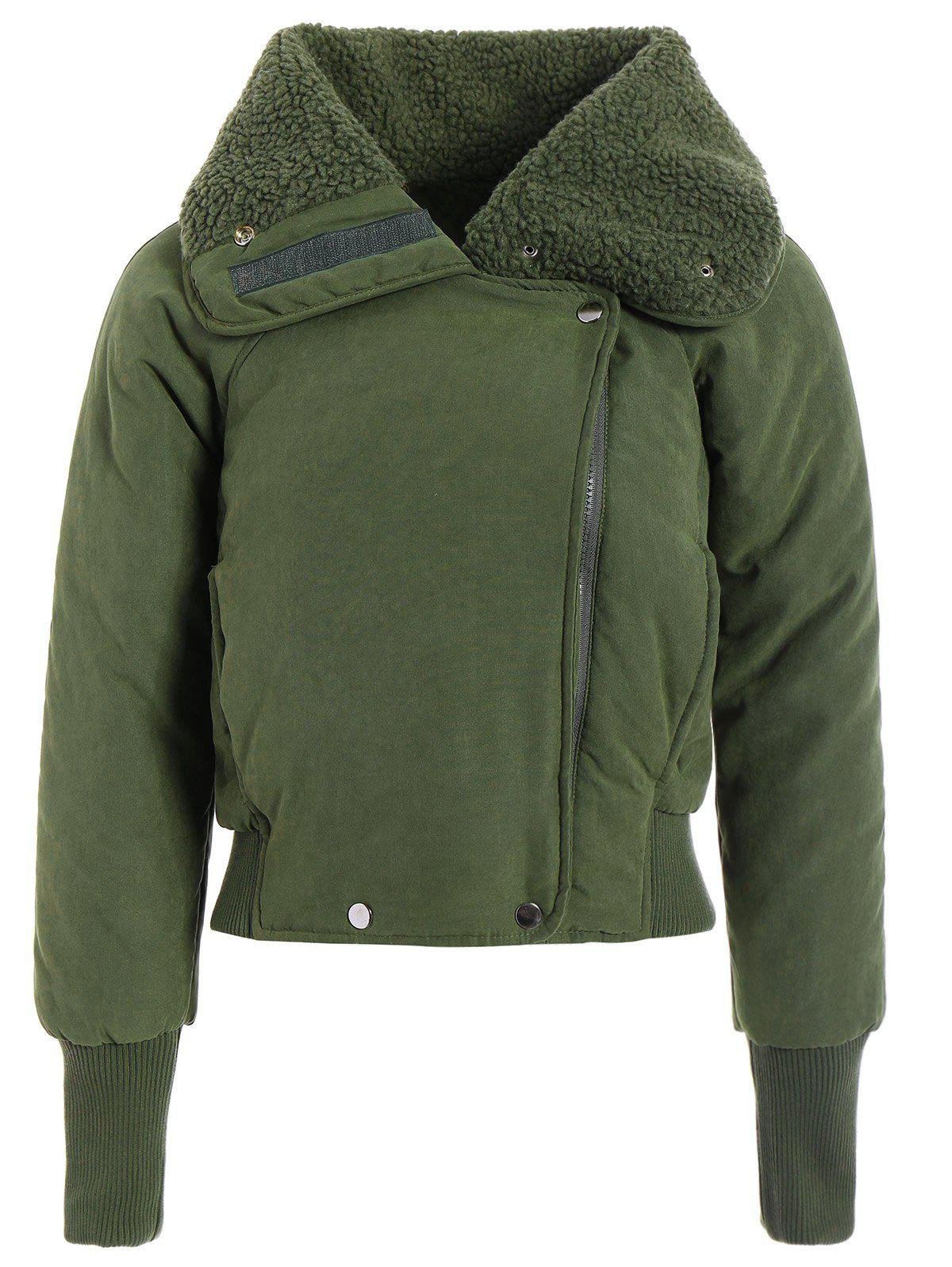 Zip Shearling Panel Cropped Padded Jacket - ARMY GREEN ONE SIZE
