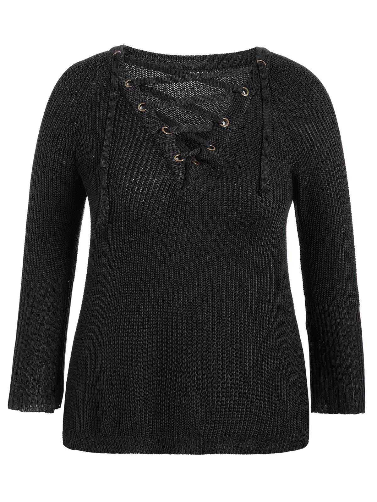 V Neck Lace-Up Pullover Sweater от Dresslily.com INT