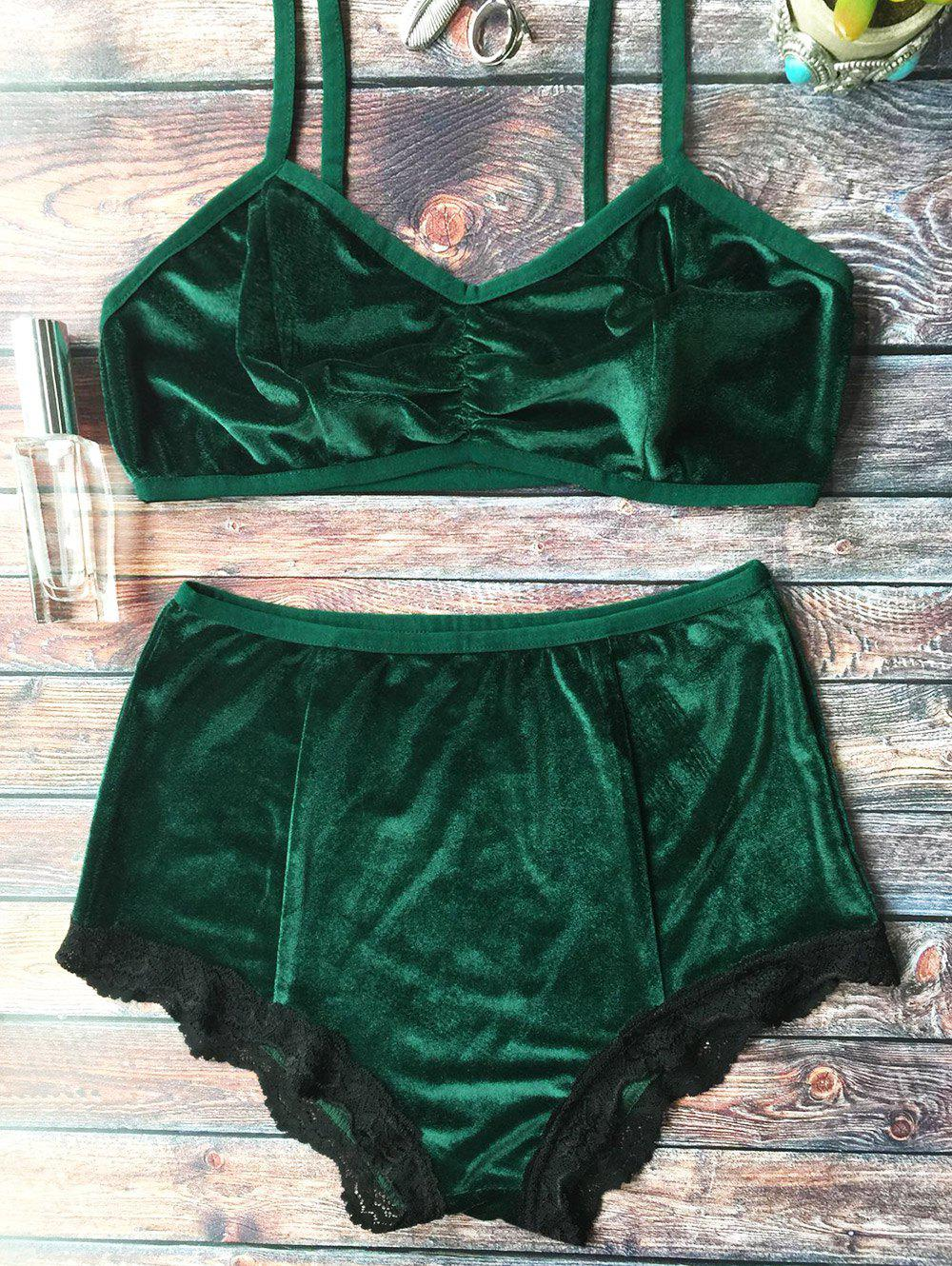High Waisted Lace Hem Velvet Bra Suit - BLACKISH GREEN S
