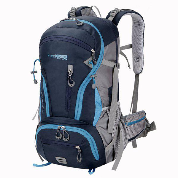 45L Multi Zips Nylon Mountaineering Backpack - DEEP BLUE