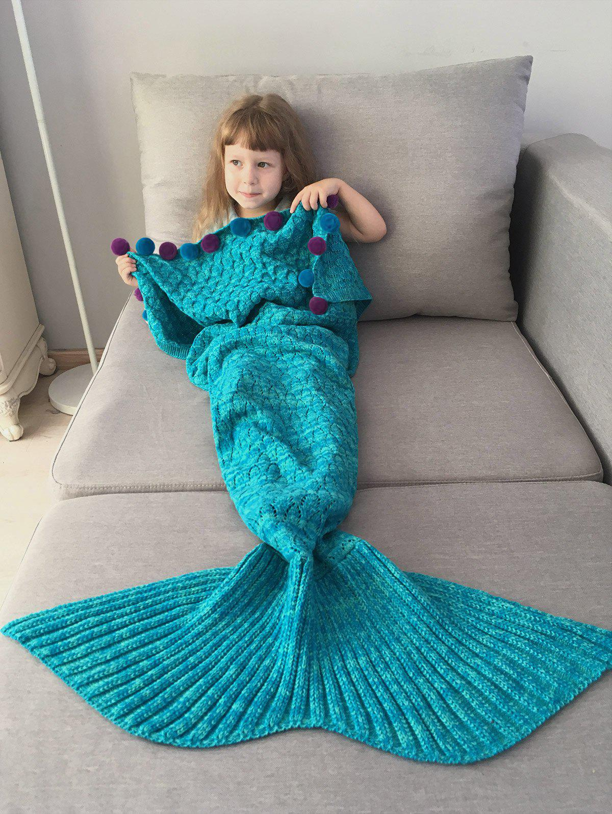 Pom Ball Crochet Knit Mermaid Blanket Throw For Kids - LAKE BLUE