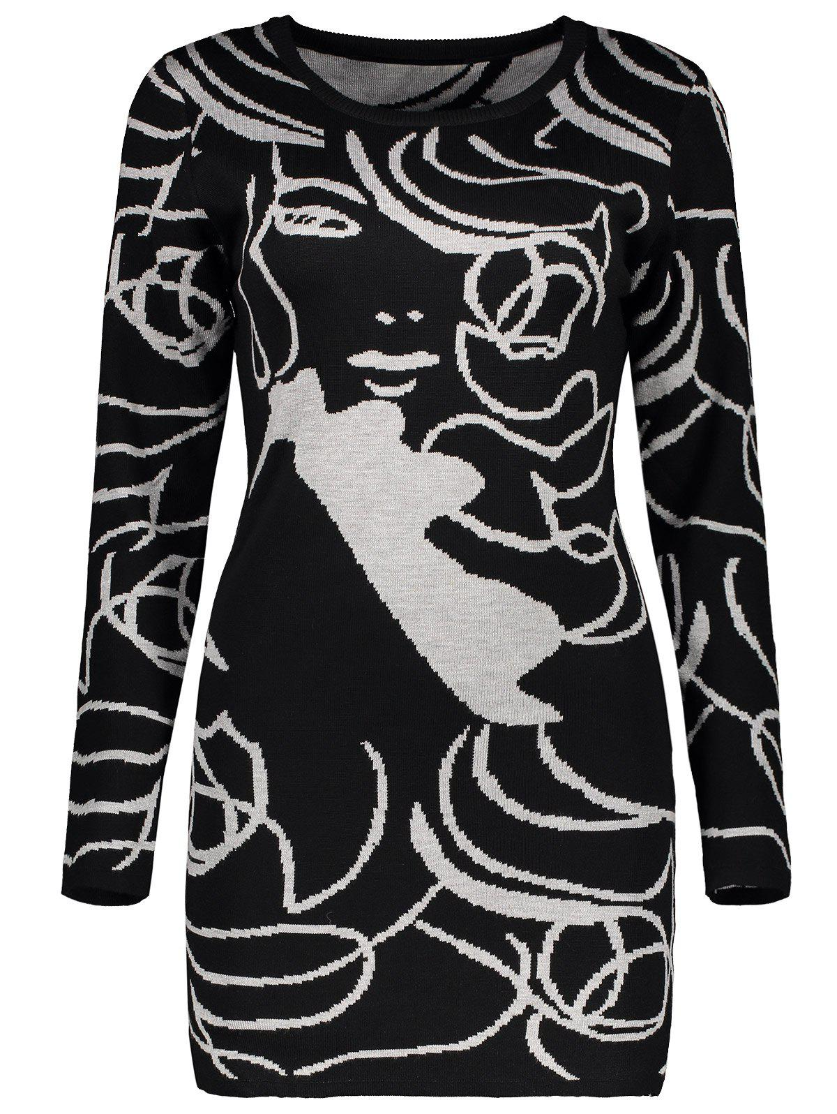 Long Sleeve Graphic Knit Mini Fitted Dress - BLACK ONE SIZE