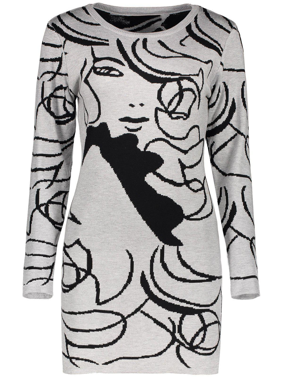Long Sleeve Graphic Knit Mini DressWomen<br><br><br>Size: ONE SIZE<br>Color: GRAY