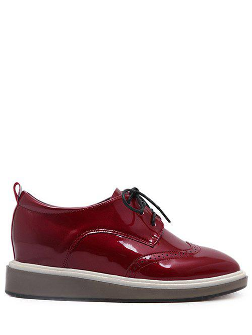Engraving Patent Leather Wedge Shoes - BURGUNDY 37