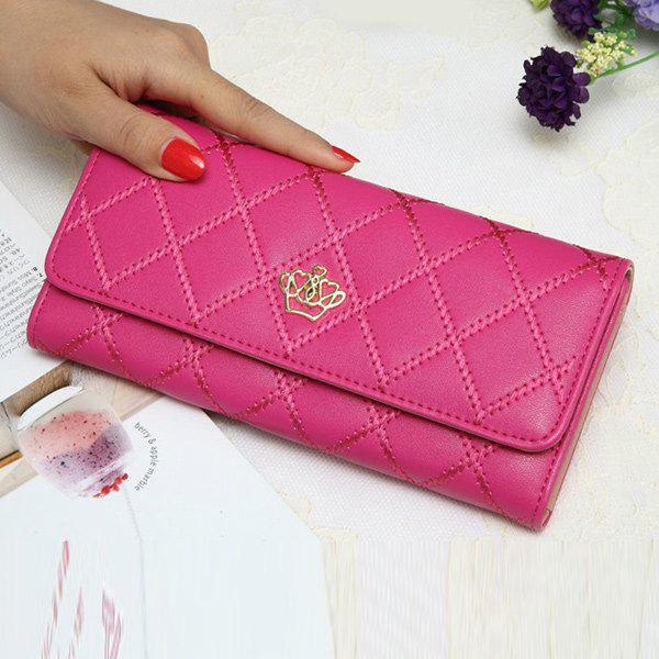Crown Design Quilted Wallet, Rose red
