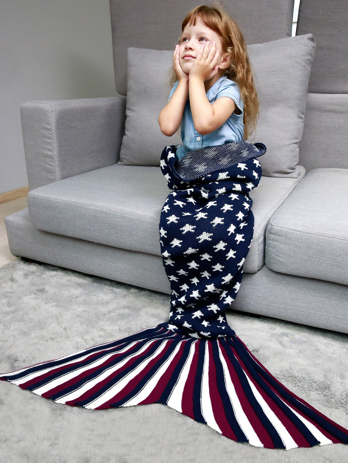 Stars and Stripes tricotée Mermaid Blanket Throw For Kids - Bleu Violet