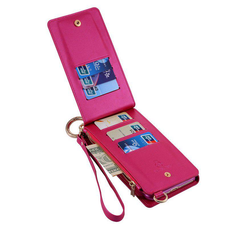 Multifunction Card Slot Faux Leather Flip Wallet Case pour iPhone - Rose Rouge FOR IPHONE 7 PLUS