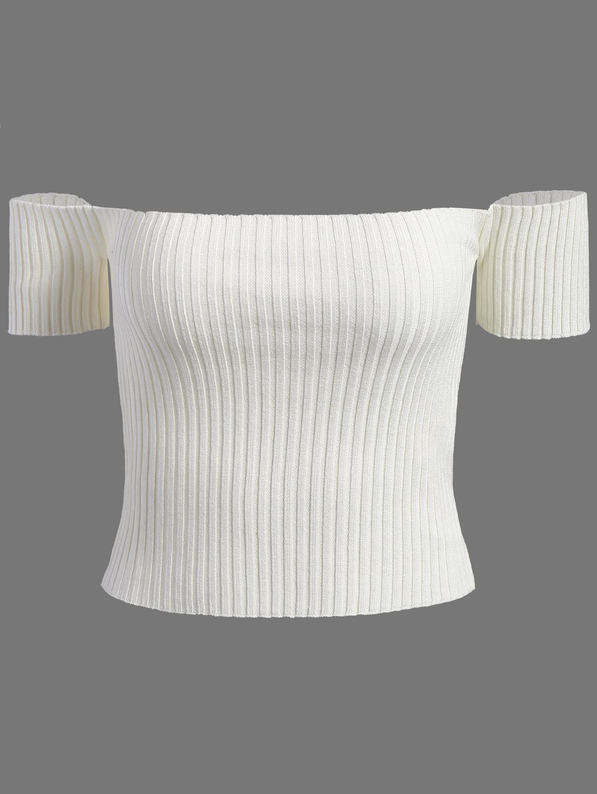 Off The Shoulder Ribbed Crop Top - WHITE ONE SIZE