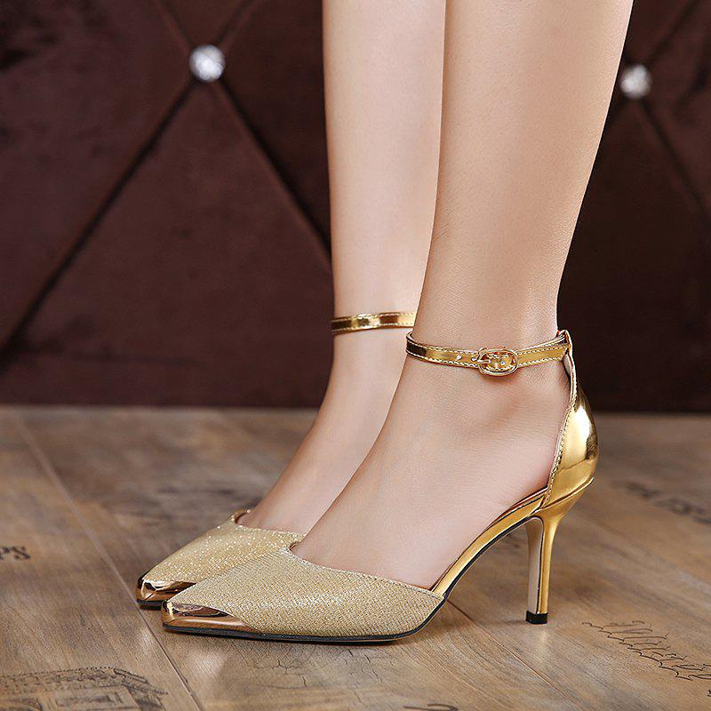Two Piece Metallic Color Pumps - GOLDEN 39