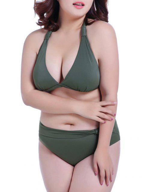 c5626bfb79dc3 2018 Halter Low Cut Plus Size Bikini Set ARMY GREEN XL In Bikinis ...
