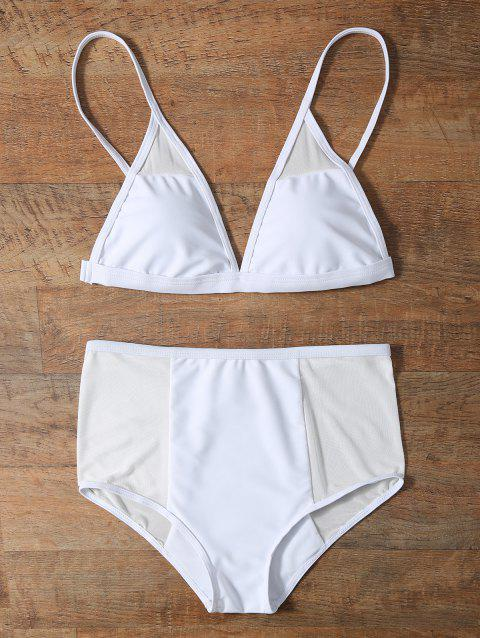 Mesh Trim High Waist Bikini Set - WHITE S