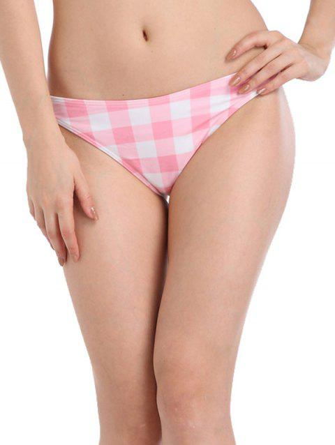 Plaid Low Waist Bikini Bottom - PINK 2XL