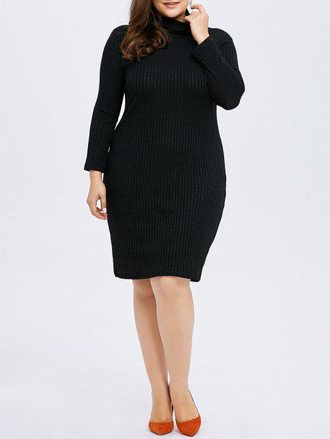 Plus Size Sheath Ribbed Knit T Shirt Dress - BLACK 4XL