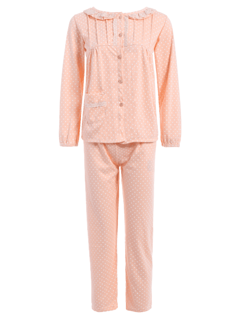 Polka Dot Button Up Loungewear Set - ORANGEPINK M