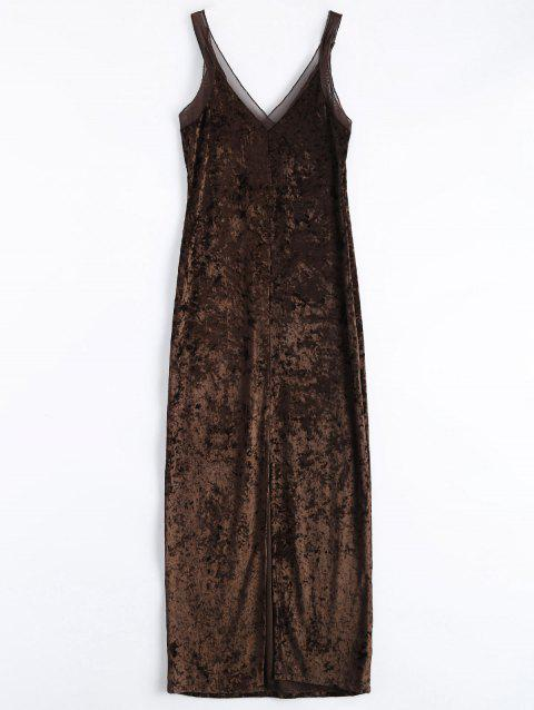 Velvet Mesh Insert Slip Fitted Dress - COFFEE S