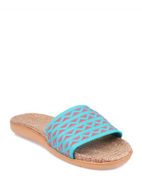 Geometric Pattern Color Block House Slippers - LAKE BLUE SIZE(37-38)