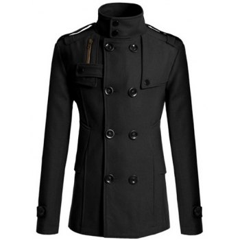 Stand Collar Double Breasted Zipper Design Woolen Blends Coat
