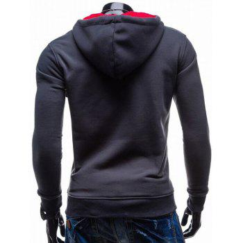 Contrast Color Side Zip Up Pullover Hoodie - RED RED