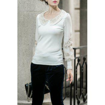 Collared Lurex Embroidered Top