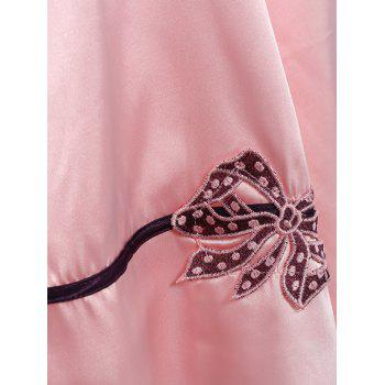 Pullover Faux Silk Two Piece Pajamas - LIGHT PINK LIGHT PINK